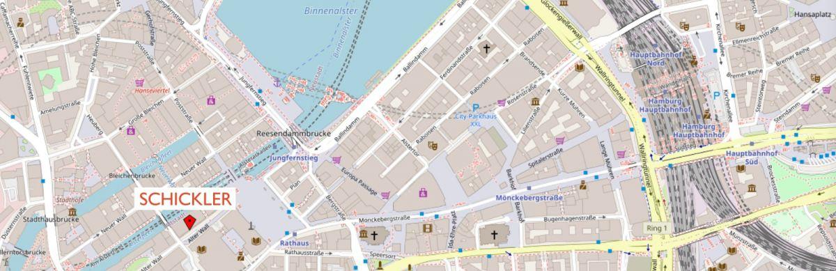 Karte von Hamburg mit Zoom auf den Hauptsitz der Schickler Unternehmensberatung GmbH